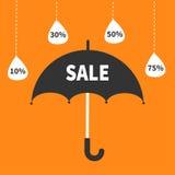 Offre de saison de mousson Parapluie noir Ligne accrochante de tiret pleuvant des baisses 10, 30, 50, 75 persent  Affiche de bann illustration de vecteur