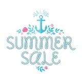 Offre de vente d'été avec l'ahchor, les roses et les feuilles illustration stock