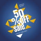 Offre de vente 50 pour cent outre de fond abstrait bleu orange Photo stock
