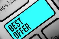 Offre des textes d'écriture de Word la meilleure Concept d'affaires pour pour convaincre quelqu'un en rendant toute la grandeur v photo stock