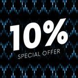 Offre spéciale bannière des textes de dix pour cent sur le fond foncé musical Vecteur illustration stock