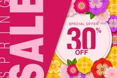 Offre spéciale 30% de bannière de vente de ressort outre de fond avec le beau calibre d'illustration de fleur illustration stock