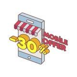 Offre spéciale de téléphone intelligent sur la ligne Photographie stock