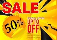Offre spéciale de vente de bannière de vecteur Fond noir et jaune abstrait de couleur Concept de construction Photographie stock libre de droits