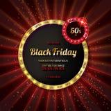 Offre spéciale noire de vendredi sur l'insigne d'or illustration libre de droits