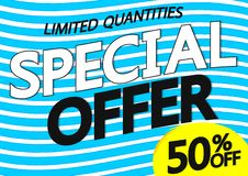 Offre spéciale, vente 50%, calibre de conception d'affiche, bannière horizontale, illustration de vecteur illustration stock