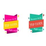 Offre supérieure, bannière de remise dans deux couleurs Ensemble de bannières pour le marché Image stock