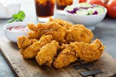 Offres panées de poulet avec le ketchup image stock