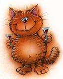 Offres rouges gaies de chat pour boire l'alcool Images stock