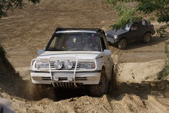 Offroad. An off-road competition with two car Stock Photography