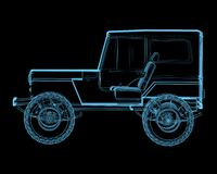 Offroad 4x4 suv. (3D x-ray blue transparent isolated on black Stock Image
