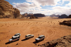 Offroad advendure in Wadi Rum Stock Image