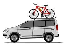 Offroad auto met fiets op het dak   royalty-vrije illustratie