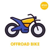 Offroad bike, motorcycle icon in flat style. With outline, eps 10 file, easy to edit Royalty Free Stock Images