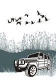 Offroad bil i vasserna stock illustrationer
