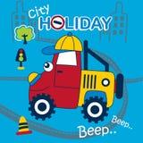 Offroad bil som spelar i den roliga tecknade filmen för stad Royaltyfri Foto
