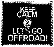 Offroad Black and White Poster. Keep calm and lets go offroad. Stamp words made from unique letters. Vertical vector illustration useful for poster, print and stock illustration