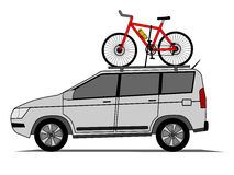 Offroad car with bicycle on the roof  Royalty Free Stock Image