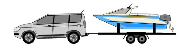 Offroad car with boat on the roof vector Stock Photo