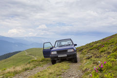 Offroad car. Commercial picture of a offroad car on Lotritei mountain in Romania Royalty Free Stock Photo