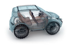 Offroad car design, wire model. Stock Photography
