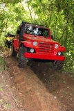 Offroad car on down hill Royalty Free Stock Photos