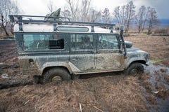 Offroad car in the mud. Kerkini lake beach Royalty Free Stock Photo