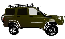 Offroad car suv 4x4 silhouette. Offroad car suv 4x4 color illustration stock illustration