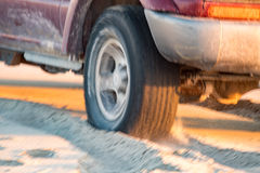 Offroad car tire detail on sand beach Stock Image