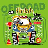 Offroad car. To finish line vector illustration for children clothes Stock Images