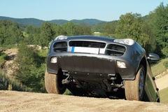 Offroad car on top of a hill Royalty Free Stock Photography