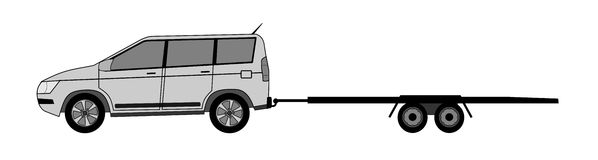 Offroad car with trailer. A illustration of offroad car with empty trailer stock illustration