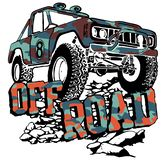 Offroad card on rocks vector design stock illustration