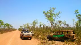 Offroad desert safari. With suv at australian road royalty free stock photos