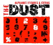 Offroad dust figures and extras. Grunge dust letters. Unique off road lettering with dirty ground texture. Editable vector illustration. Beautiful typography stock illustration