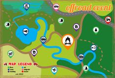 Offroad event and camping map icons set. Vector illustration. Illustration of offroad event and camping map icons vector set Stock Images