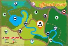 Offroad gebeurtenis en het kamperen geplaatste kaartpictogrammen Vector illustratie royalty-vrije illustratie