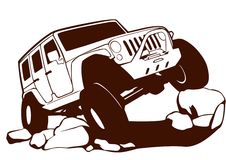 Offroad jeep. This is vector jeep for t-shirt, logo, etc Stock Images