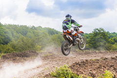 Offroad motorcycle. Racer on motorcycle during an offroad competition on June 20, 2015 in Bucharest, Romania Royalty Free Stock Photography