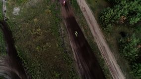 Offroad motorcycling race cross finish aerial stock video