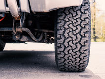 Offroad Mud-Terrain tire tread. SUV: close-up of offroad Mud-Terrain tire tread Stock Image