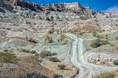 Offroad na estrada do deserto do panorama da paisagem de Baja California Fotografia de Stock