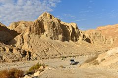 Offroad safari in desert mountains. Offroad safari in scenic wadi Heymar, Judea desert, Israel royalty free stock photography