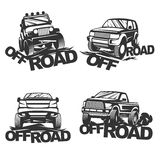 Offroad set emblems. Set off-road suv car monochrome labels, emblems, badges or logos  on white background. Off-roading trip emblems, 4x4 extreme club emblems Royalty Free Stock Images