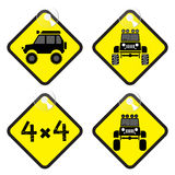 Offroad sign set in yellow tag vector illustration Royalty Free Stock Photos