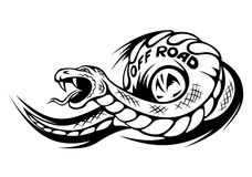 Offroad snake tattoo. Danger snake for offroad mascot or tattoo. Vector illustration Royalty Free Stock Photos