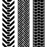 Offroad tires two. Collection of tire treads in black and white with repeat pattern stock illustration