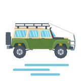 Offroad Vehicle with mud tire and roof rack. Vector Stock Photos