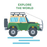 Offroad Vehicle with mud tire and roof rack. Vector Stock Photography