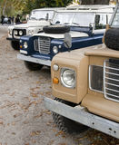 Offroad vehicles. Three old Land Rover offroad 4x4 all wheel drive vehicles, of the type used in general for safaris and difficult roads (if any Royalty Free Stock Photography
